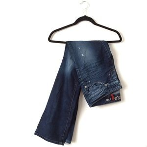 Distressed Deep Blue Washed Bootcut Jeans | Guess